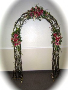 arch decorated with twigs matte
